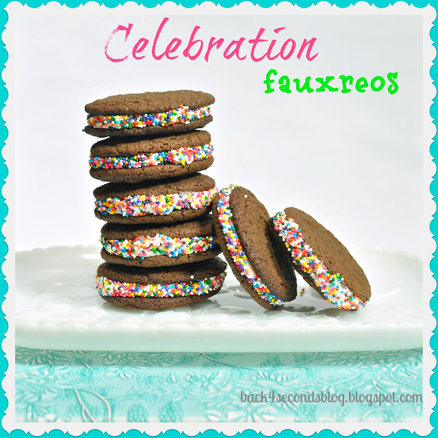Celebration Fauxreos #oreos #homemadeoreos #sprinkles #cookiesandwich #party
