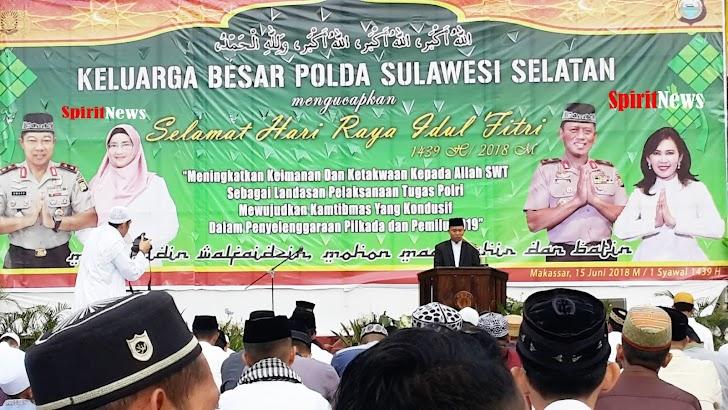 Dir Binmas Bersama Ribuan Jamaah Ramaikan Sholat Idul Fitri 1439 H di Mapolda Sulsel
