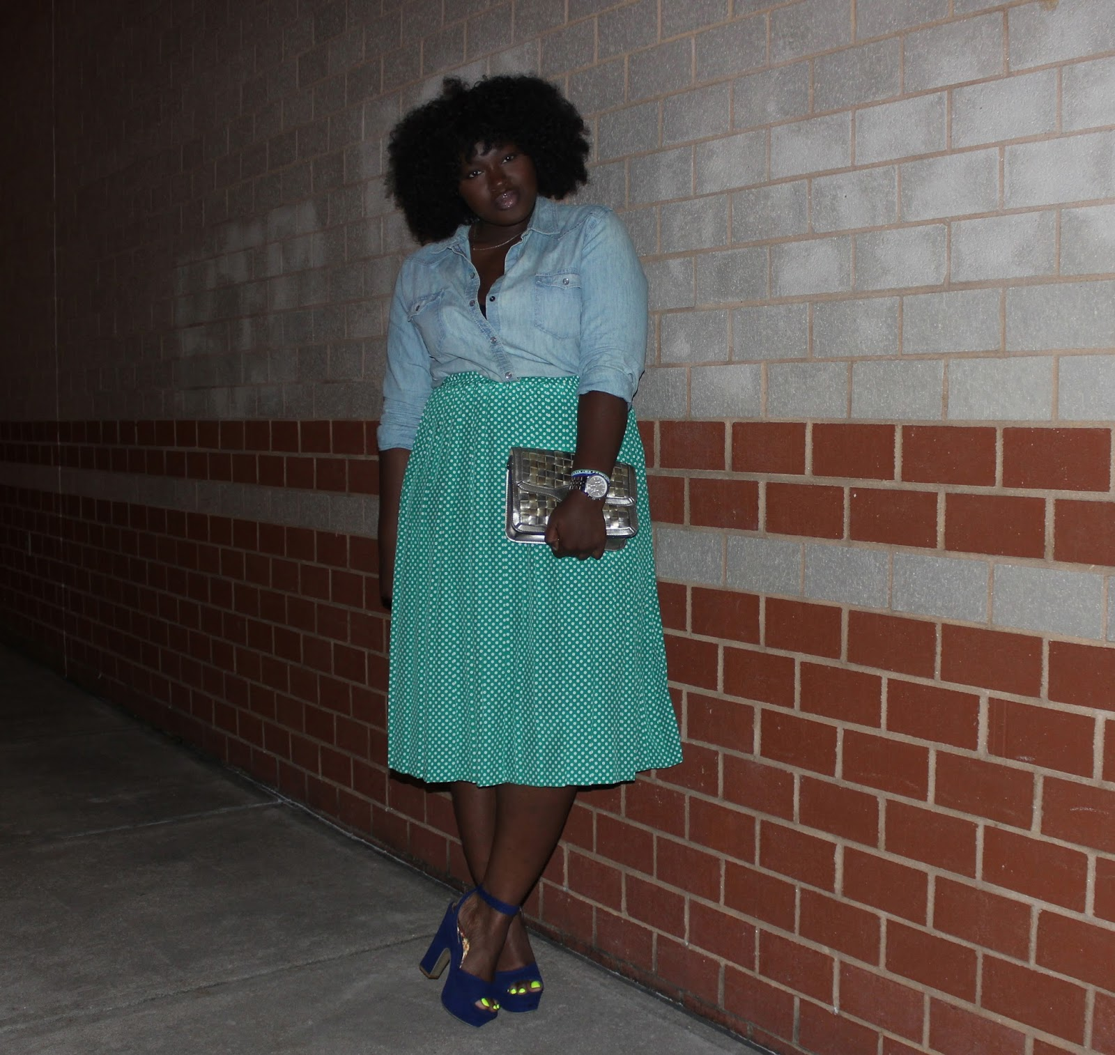 chambray shirt , Midi Skirt