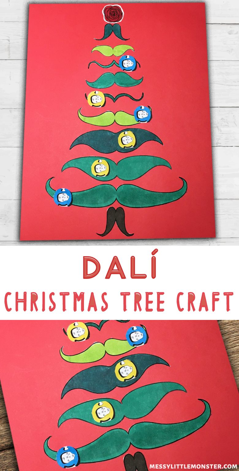 Salvador Dali art for kids. Melting clock and moustache Christmas tree craft.