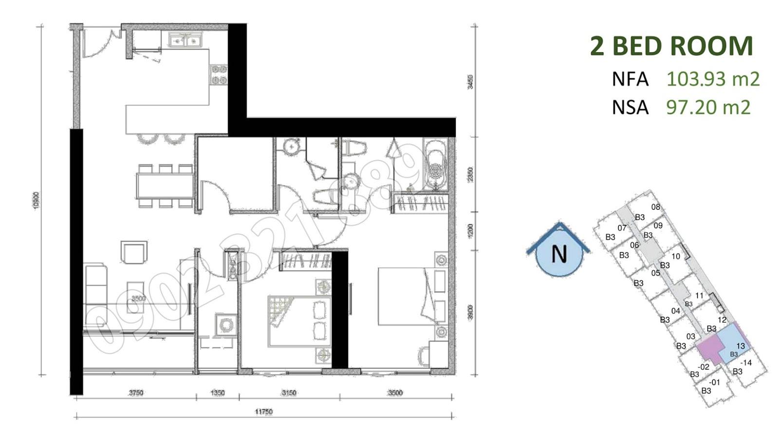 mặt bằng căn hộ sunwah pearl 2 phòng ngủ B3-13