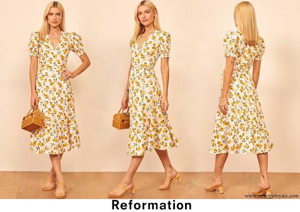 Princess Alexandra wore Reformation Veronika Linen Wrap Lemon Dress