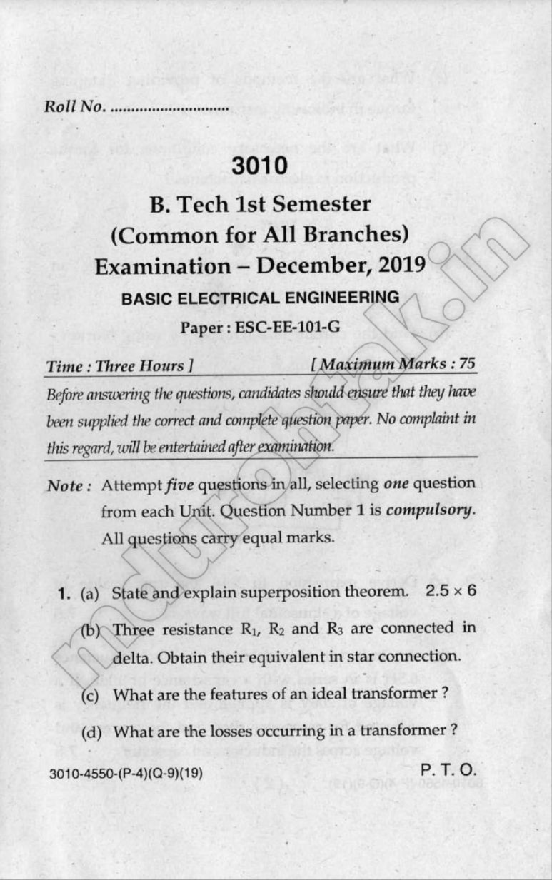 Download Basic Electrical Engineering Question Paper - B.Tech 1st Year - December 2019