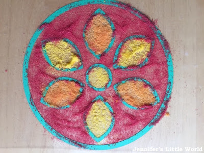 Dyed salt rangoli craft