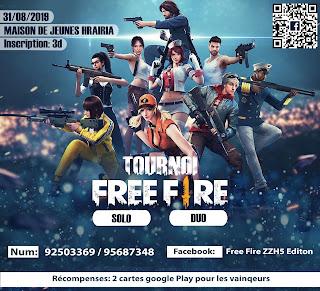 مسابقة فري فاير في الزهروني tournois Free Fire ezzahrouni تنظيم مسابقة لعبة Free Fire  في الزهروني