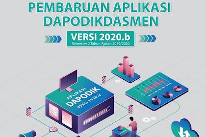 Aplikasi Dapodikdasmen Versi 2020.b dirilis dalam bentuk PATCH dan UPDATER