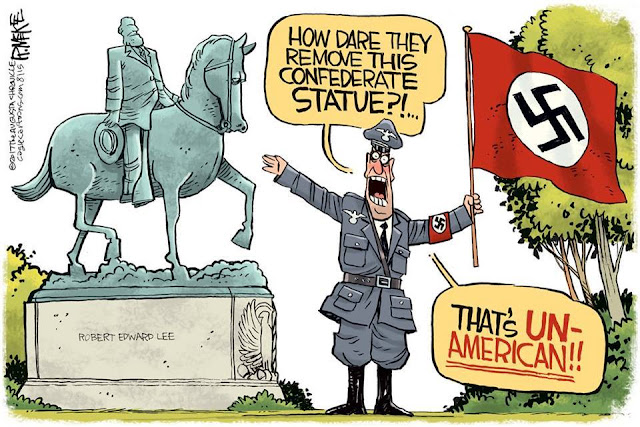 Image of man in Nazi uniform holding a Nazi flag pointing at a statue of Robert E. Lee while saying,