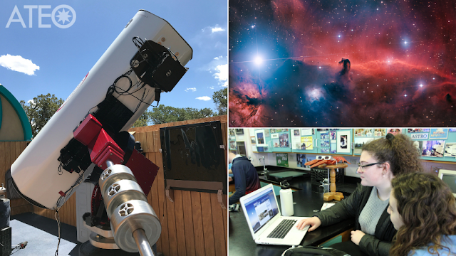 Insight Observatory's Astronomical Telescope for Educational Outreach (ATEO-1) with Barnard 33 - The Horsehead Nebula imaged on ATEO-1 and high school students accessing the ATEO remote telescope network for their classroom project.