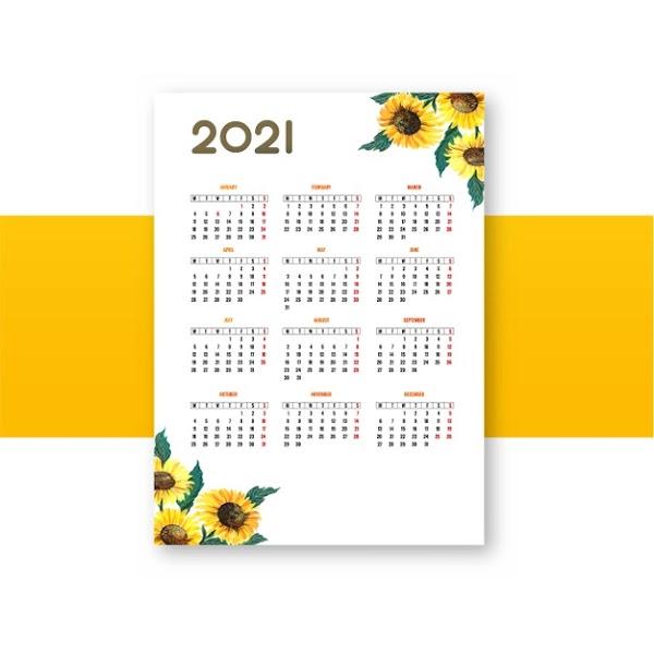 Calendario 2021 anual de flor en vector