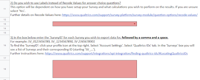 There is a list of instructions to be completed with Qualtrics account data to be entered.
