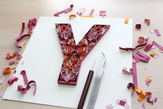 quilling letter y mandala pattern tutorial - excess cuts