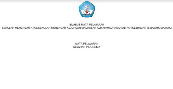 Silabus sejarah Indonesia SMA-MA-SMK-MAK Kurikulum 2013 Revisi 2017 pdf