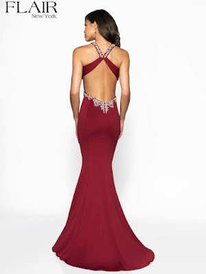 Cut-out jersy Flair prom Dress red Color