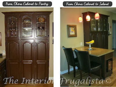 Before and After picture of china cabinet makeover