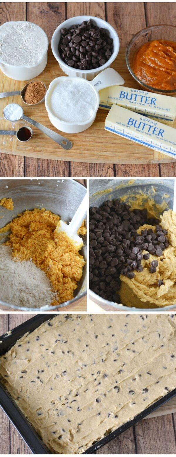 Delicious Pumpkin Chocolate Chip Bars