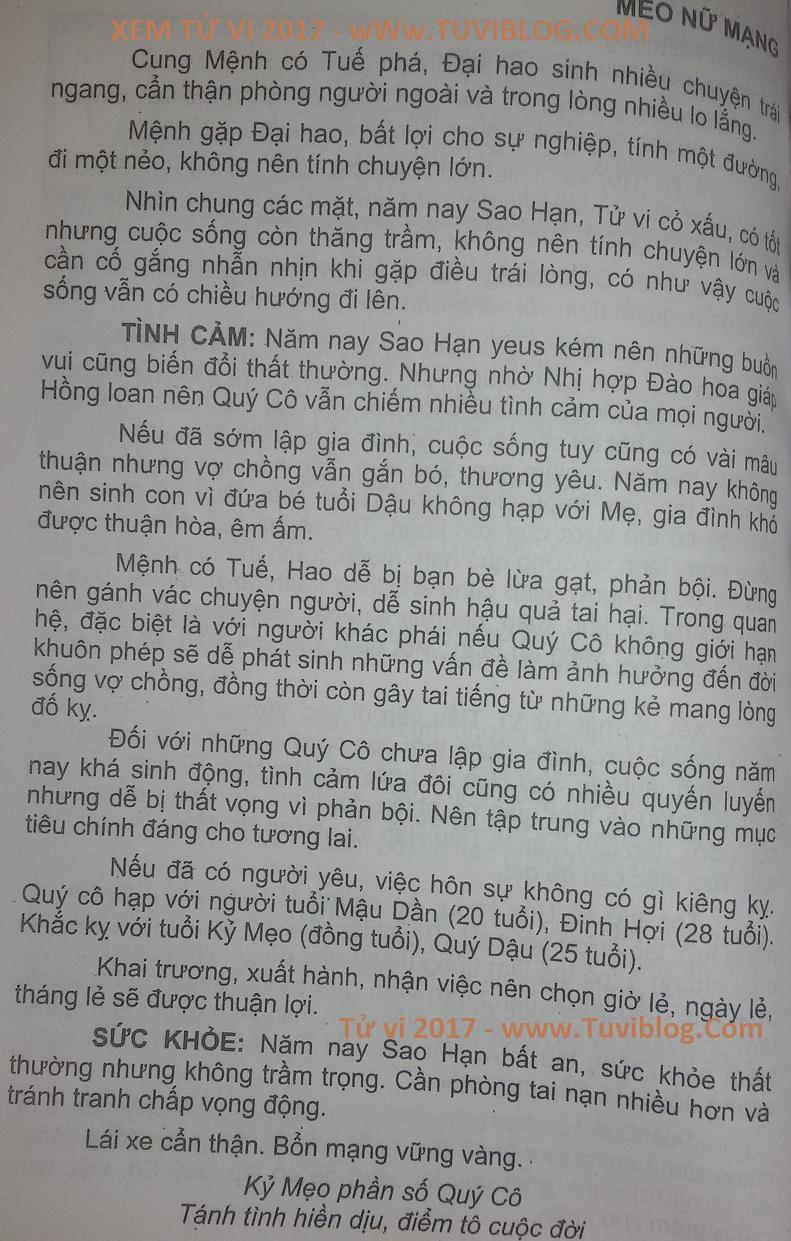 Xem tuoi Ky Mao nu 1999