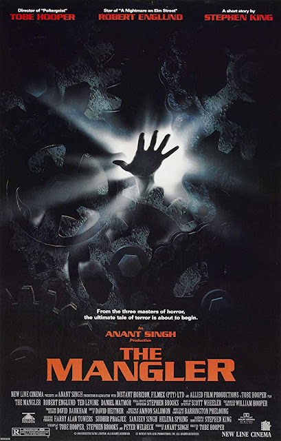 New Line Cinema's The Mangler (1995) movie poster, starring Robert Englund and Ted Levine