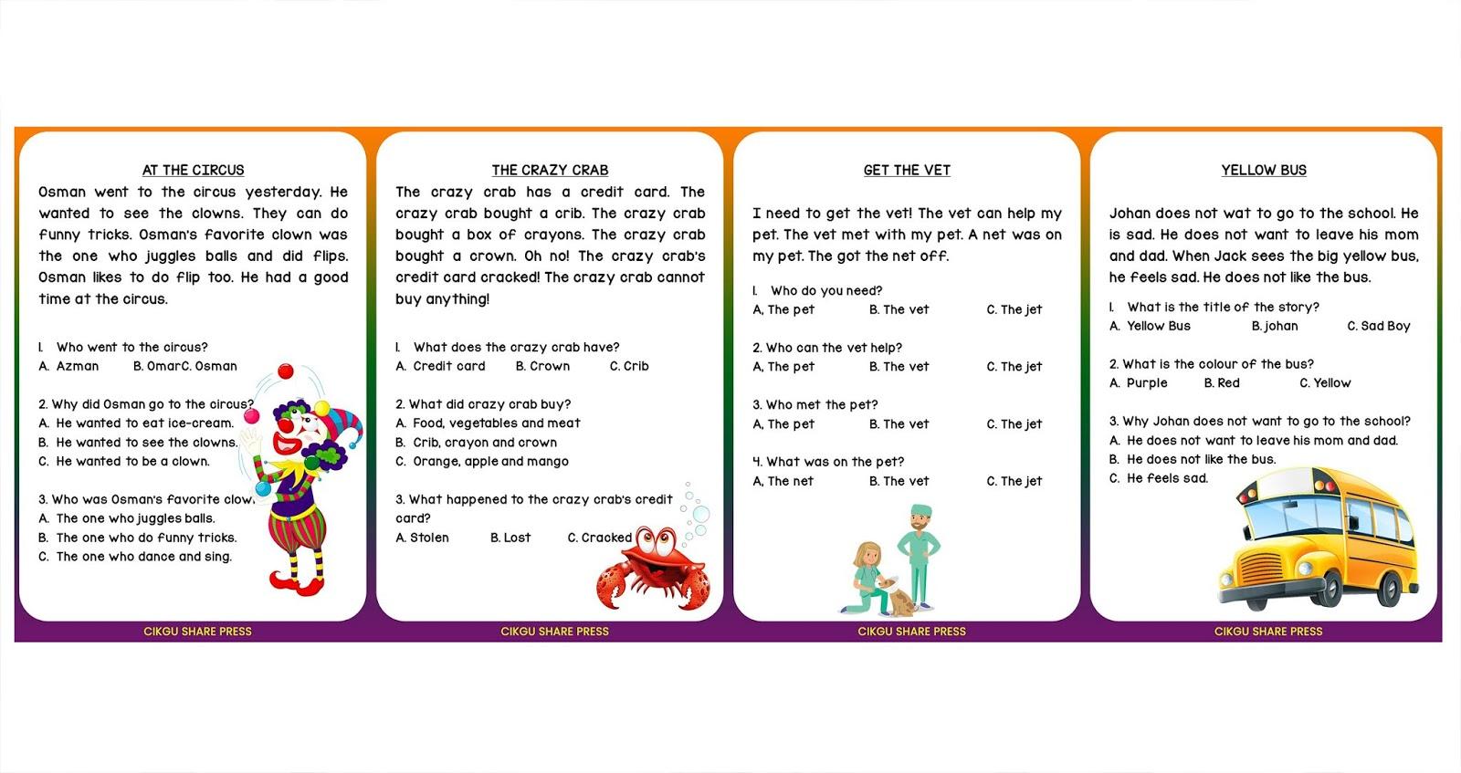 Short Story Comprehension 001 Level 1
