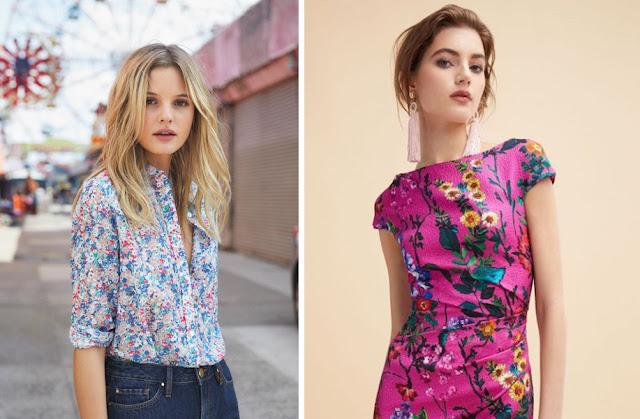 Девушки в блузке и платье с натуралистичным цветочным принтом