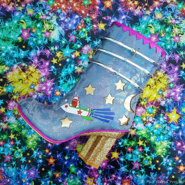 blue snakeskin boots with gold glitter heel and robot print