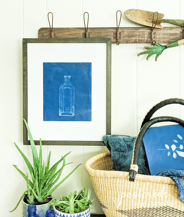 sun print made with vintage glass bottle