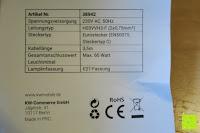 Beopackzettel: kwmobile E27 Lampenfassung 3,5m Weiß - Netzkabel mit Schraubring Schalter - Lampenhalter und Kabel - Pendelleuchte - Lampenaufhängung - Hängeleuchte