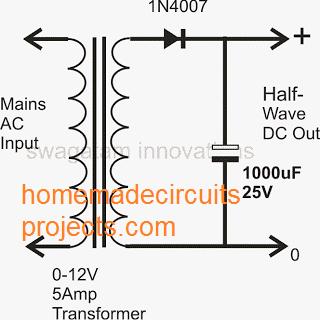 single diode half wave power supply circuit