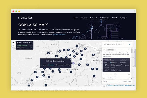 خريطة جديدة تمكنك من معرفة جميع اماكن إطلاق خدمة الأنترنت من Ookla وشاهد هل بلدك موجود