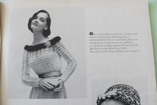 free 1950s vintage fur trimmed crochet blouse pattern