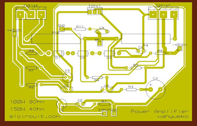 PCB Layout 100W Power Amplifier TIP142/TIP147