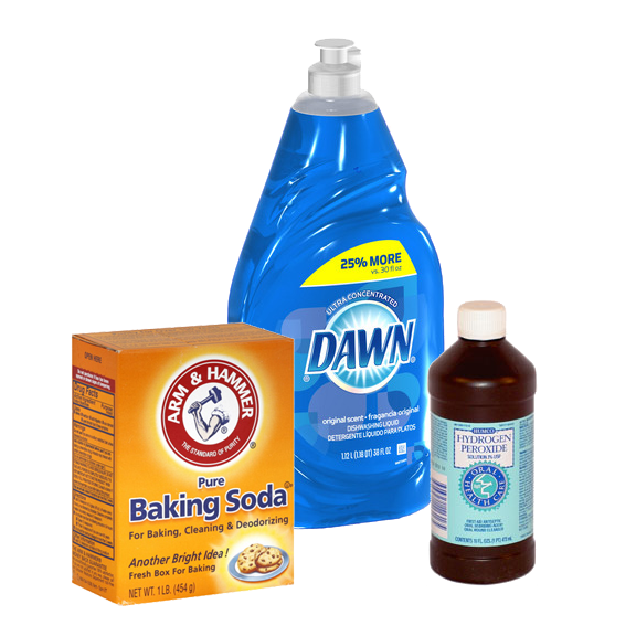 Thank You Pinterest One Good Thing For Recommending A Concoction Of Part Dawn Dish Soap Mixed With Two Parts Hydrogen Peroxide And Some Baking Soda