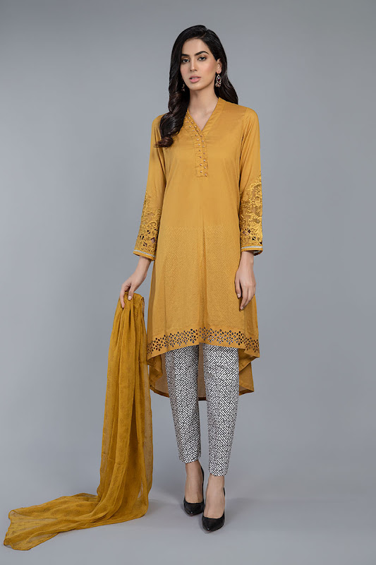 Maria B lawn suit Mustard color
