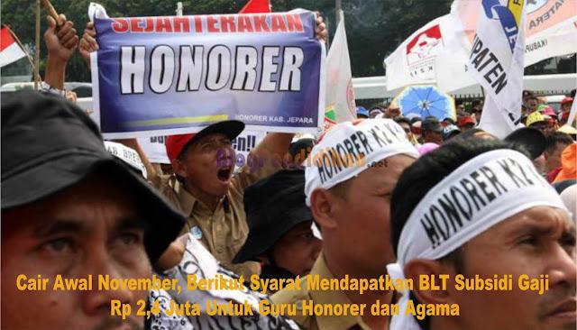 Cair Awal November, Berikut Syarat Mendapatkan BLT Subsidi Gaji Rp 2,4 Juta Untuk Guru Honorer dan Agama