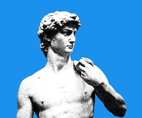 Dibujo de detalle del rostro de El David de Miguel Ángel Buonarroti original. Ilustración, por José Miguel Hernández Hernández. Efecto estilográfica en Photoshop de Adobe con fondo de color azul