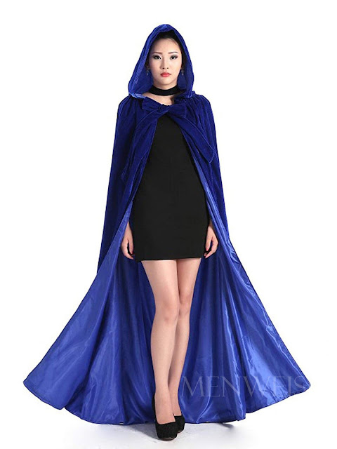 Blue Long Velvet Cloak with Hood for Women