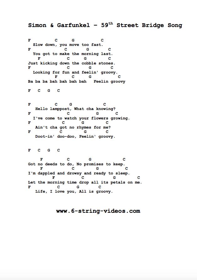 guitar tabs lyrics and chords for 59th street bridge song. Black Bedroom Furniture Sets. Home Design Ideas