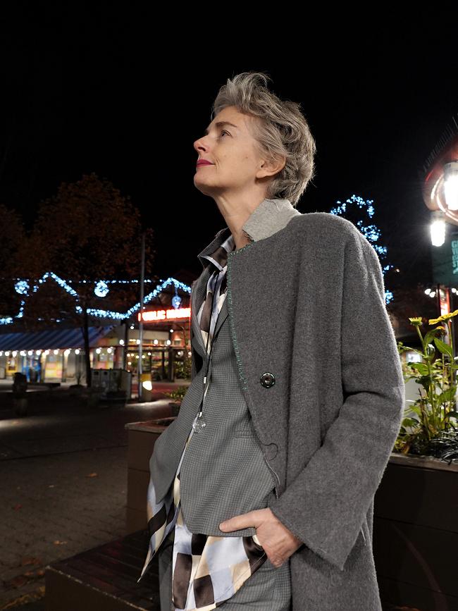 Mel Kobayashi in Armani suit, Yuzhe Studios coat, Granville Island, photo by Osamu, Nov 2018