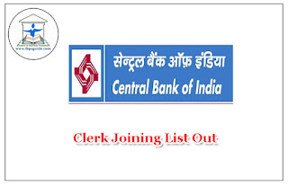 Central bank Of India Clerical Jointing List Out