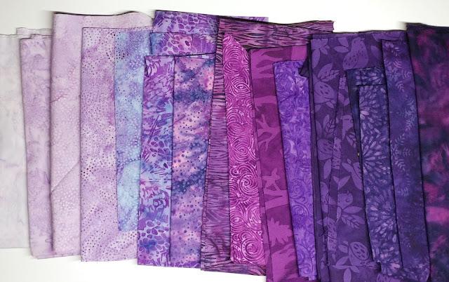 Island Batik purple fabrics light to dark
