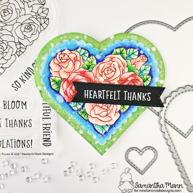 Heart Shaped Thank You card by Samantha Mann | Heartfelt Roses Stamp set, Heart Frames Die Set and Banner Trio Die Set by Newton's Nook Designs