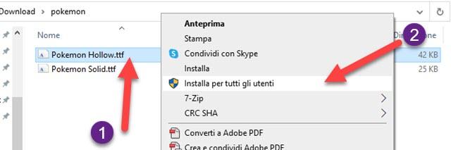 installazione di nuovi font su windows
