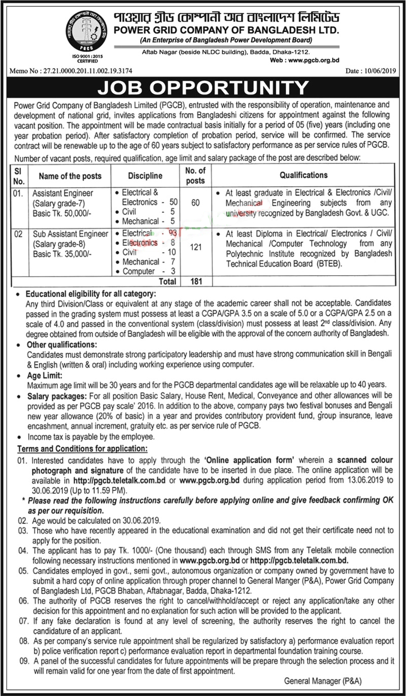 Power Grid Company Of Bangladesh Ltd (PGCBL) Job Circular 2019