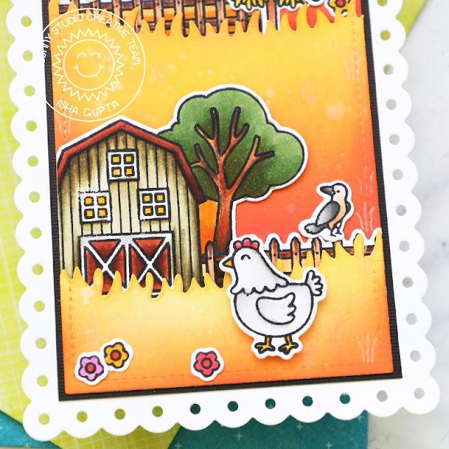 Sunny Studio Stamps: Farm Fresh Slimline Dies Fluffy Cloud Dies Harvest Mice Fall Themed Card by Isha Gupta