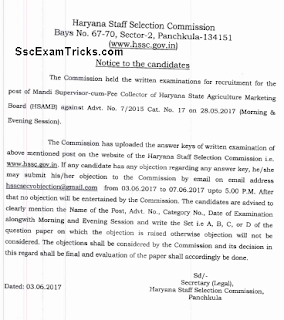 HSSC Mandi Supervisor Answer Keys notice