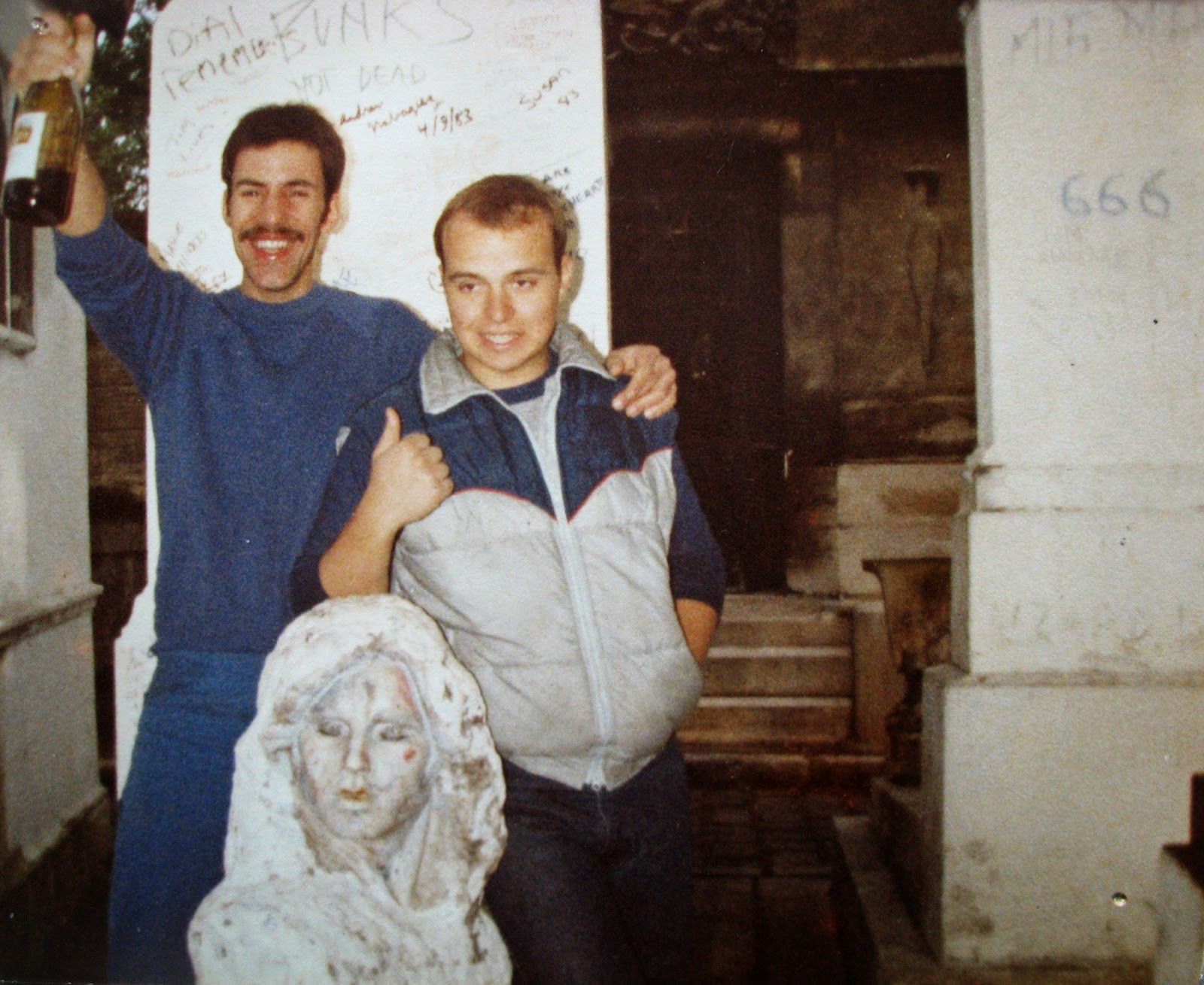 Tommy Mondello & Billy Scire at Jim Morrison's grave site May 4, 1983