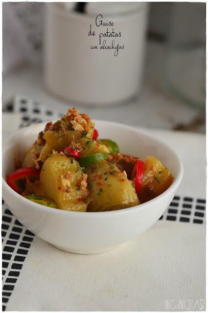 Guiso de patatas con alcachofas