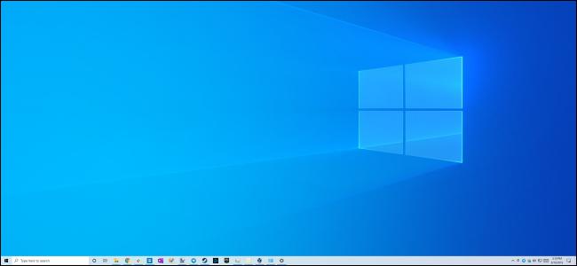 سطح مكتب Windows 10 مع عدم وجود رموز سطح المكتب