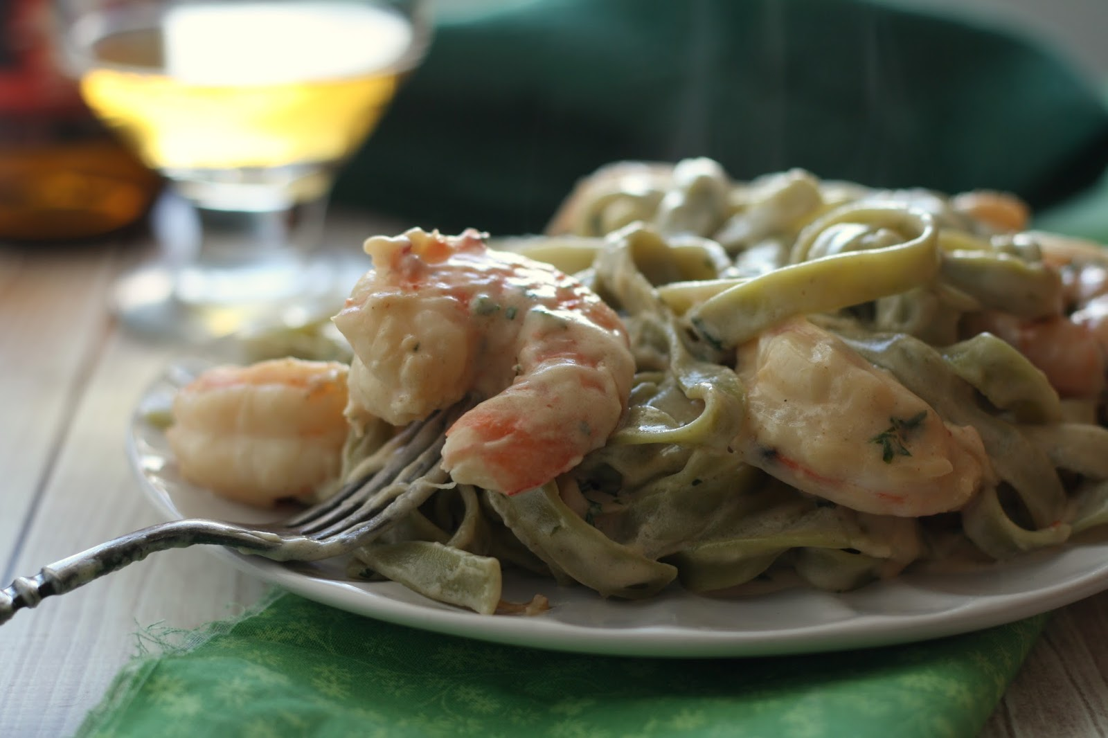 Shrimp Fettuccinne in Creamy Hard Cider Sauce