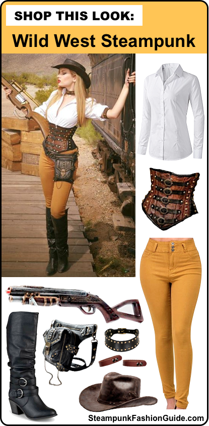 steampunk wild wild west/ western steampunk cowgirl costume tutorial. how to make a steampunk rifle