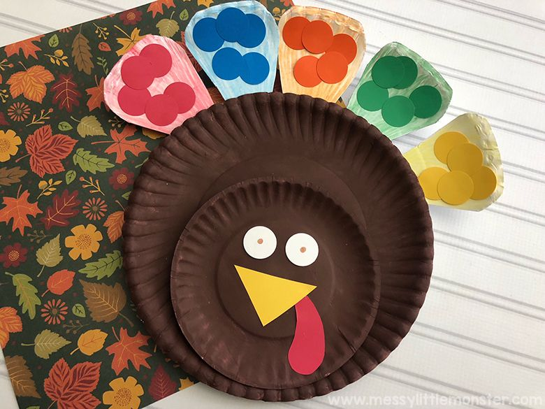 colour match paper plate turkey Thanksgiving craft for kids
